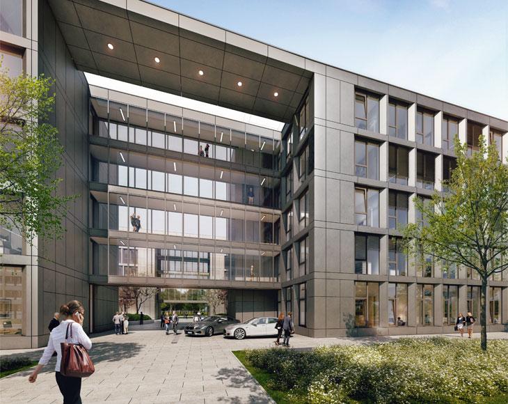 Die Büro-, Gewärbefläche am Düsseldorfer Flughafen. Bema Gruppe präsentiert.