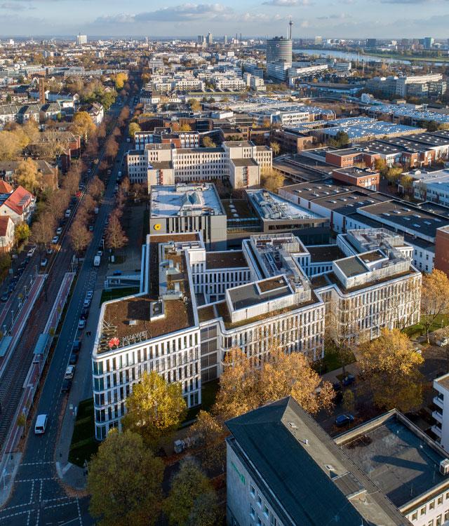 Das Bürogebäude Silizium an der Hansaallee in Düsseldorf, wurde von der bema Gruppe realisiert.