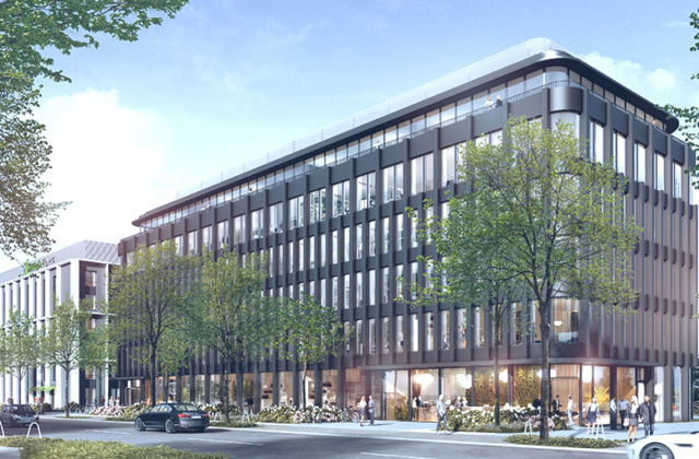 Umweltbewusst: Bürogebäude mit Parkhaus