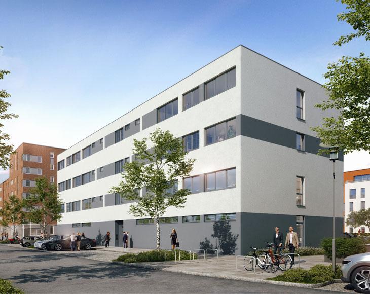 Zusehen ist das viergeschossige Bürogebäude auf der Düsseldorfer Straße.